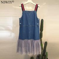 NIWIY Brand Summer Blue Denim Cotton Dress Vestidos Verano 2017 Clothes Women Sleeveless Sexy Strapless Dress