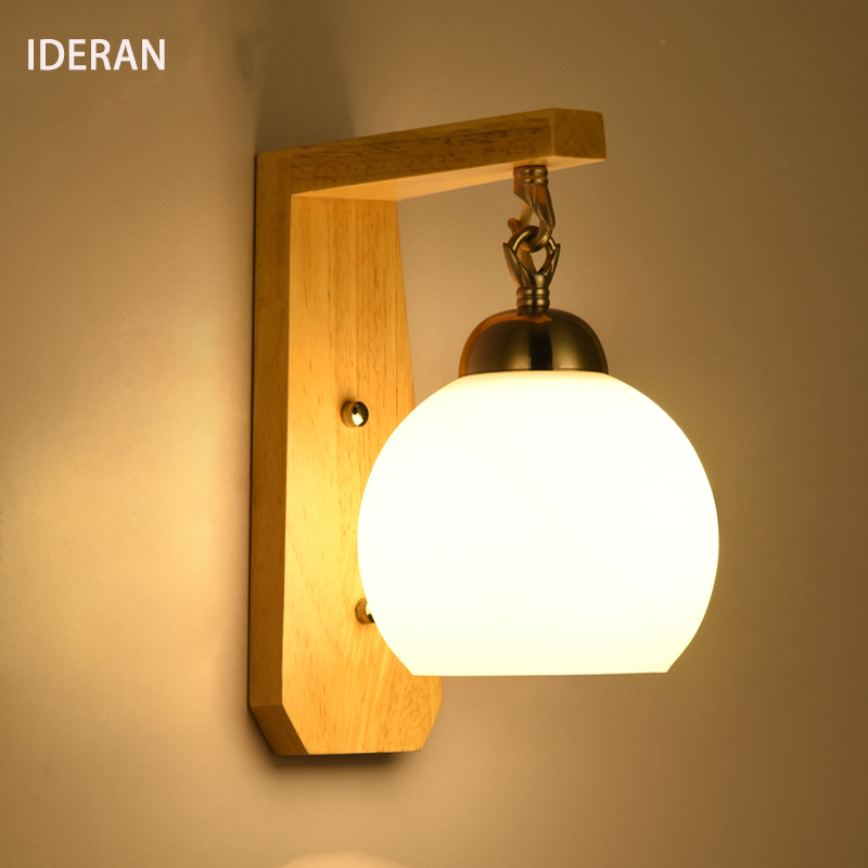 где купить IDERAN loft bedroom Wall Lamp wooden  Body Glass Lampshade outdoor Light Retro Lamp Home Light Door headlight corridor lights по лучшей цене