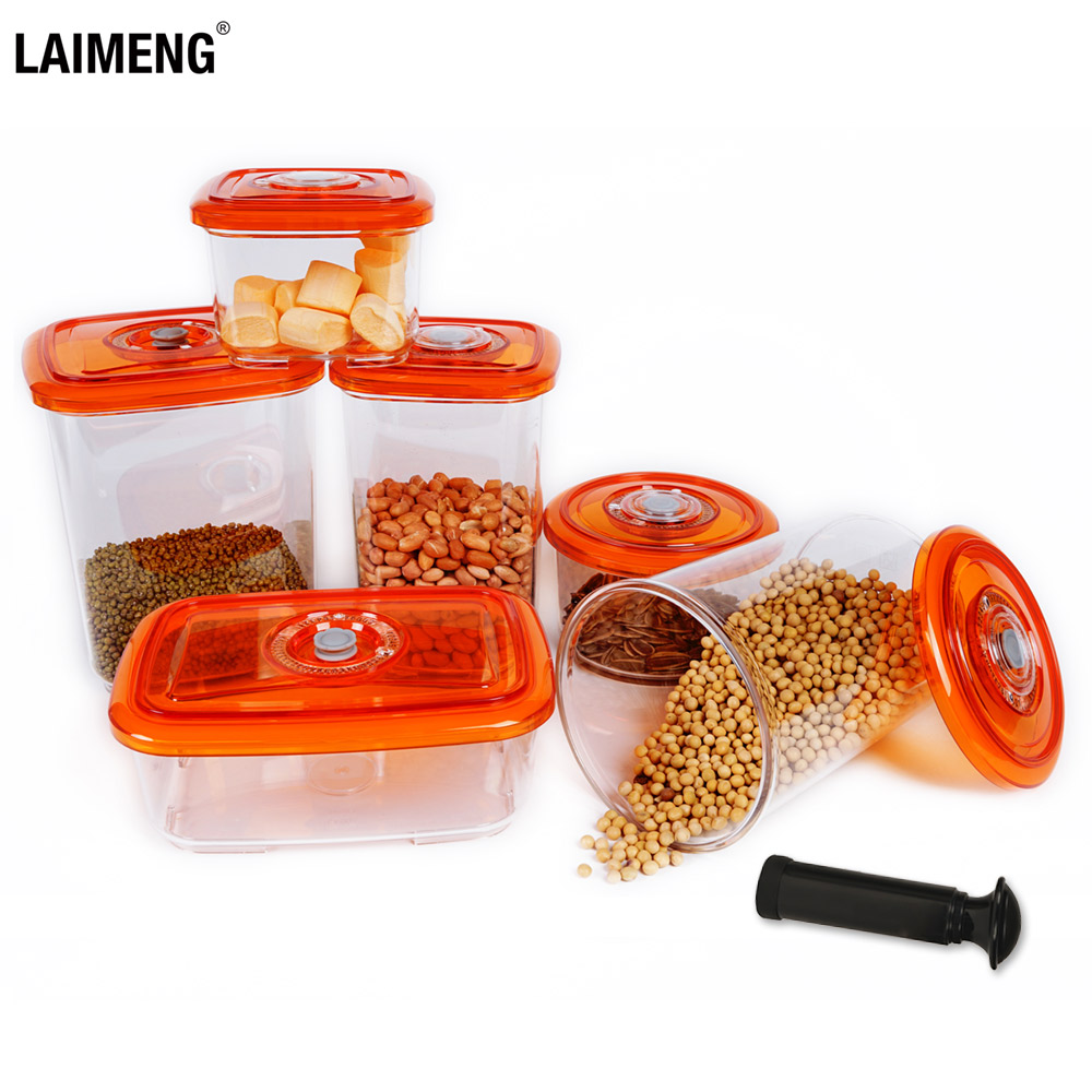 LAIMENG Vacuum Container Plastic Food Storage Container With Lid Damp Proof Large Capacity Kitchen Box For Vacuum Sealer S250