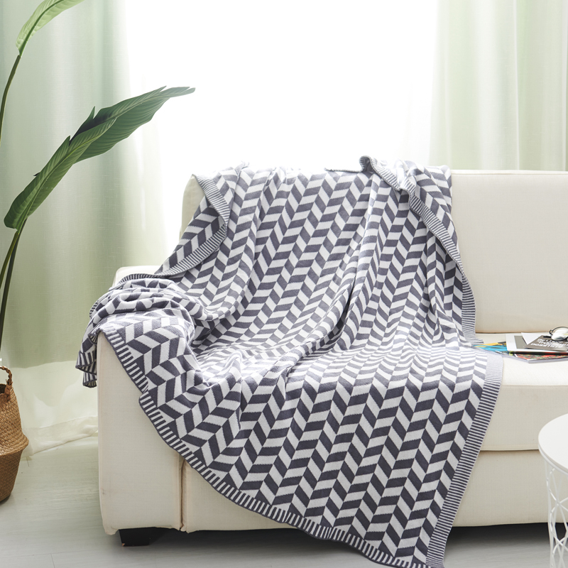 Couverture géométrique confortable de coton de style nordique 130*170 CM, gigoteuse blanche, serviette de sofa, couverture de voiture