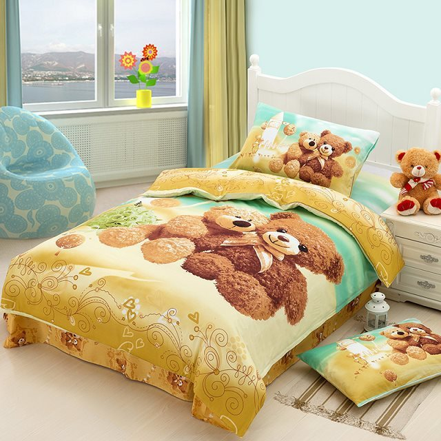Teddy Bear Cartoon Cute Bedding Set For Kids Children Twin Size Bedspread  Duvet Cover Bed In