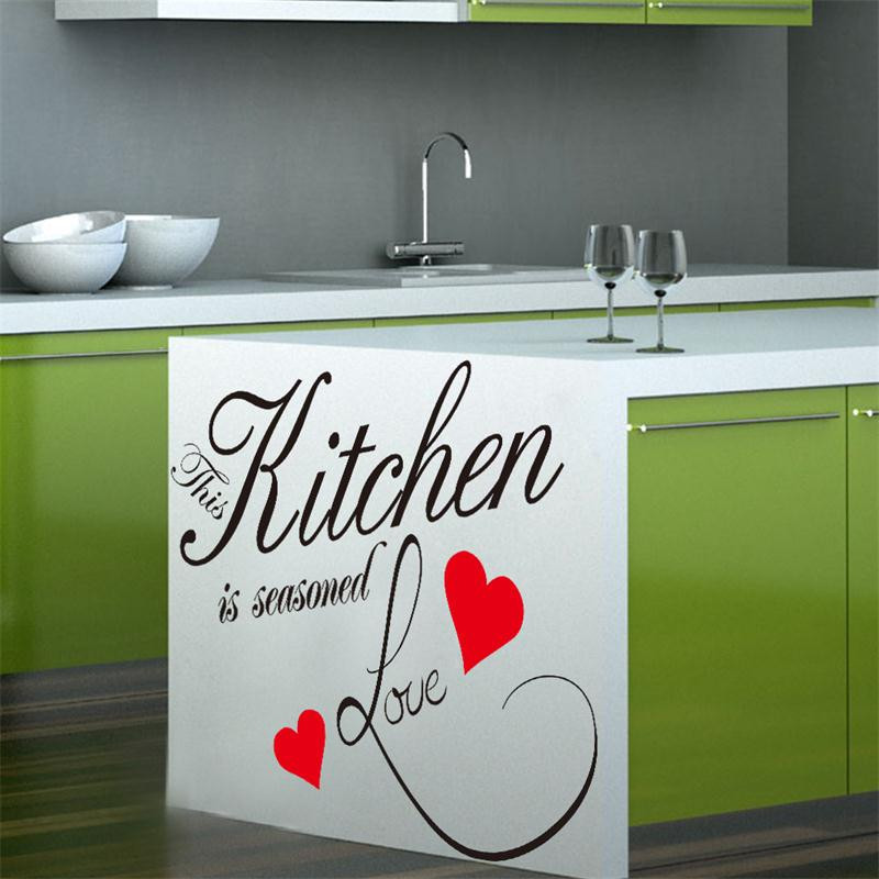This Kitchen Is Seasoned Love warm quote letter wall sticker Kitchen wall cabinet decora ...
