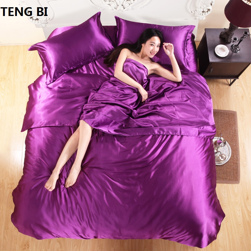 HOT! 100% pure satijnen beddengoed set, Home Textiel kingsize bed set, beddengoed, dekbedovertrek laken kussenslopen Groothandel