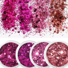 цены 4or1Box Nail Art Glitter Powder(10ml/Box) 3D Nail Art Glitter MIX Size0.2-1mm Nail Hexagon Glitter Sequins Dust For DIY Manicure