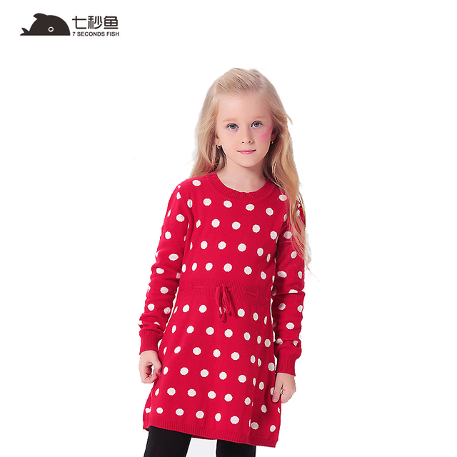 girl sweater autumn Dot Knitted Girls Dresses Long Sleeve Sweaters Pullovers Children's Clothing Kids Clothes