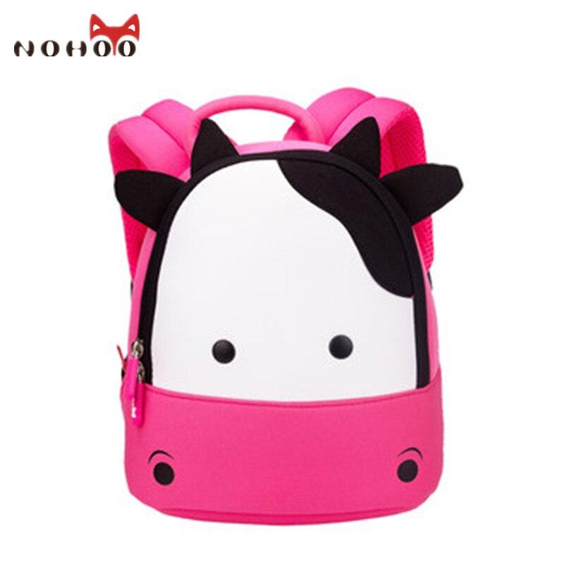 NOHOO Toddler Baby Backpack Animal Kids Baby Bags Waterproof Kindergarten 3D Cow School Bags For Girls Cute Cartoon School Bags
