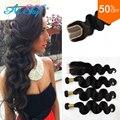 Peruvian Body Wave With Closure 4 Bundles Peruvian Virgin Hair Body Wave With Lace Closure 7A Human Hair Weave Bundle Deals