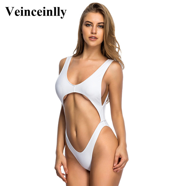 9528dfa385 Tummy Cut Out Cross Sexy High Cut Leg One Piece Swimsuit Women Swimwear  Female 2018 Bather