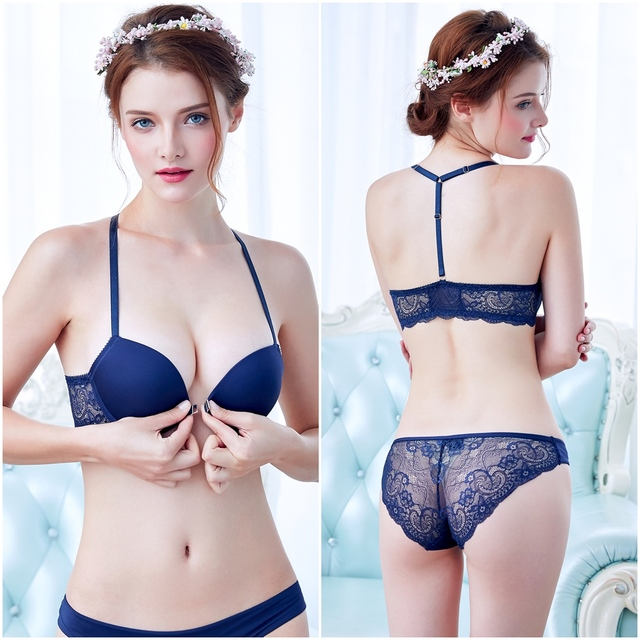 03dc2deb9e Sexy Elegant Bra and Panty Set Women Bras Underwear Lady Sexy Deep V-lace  Push Up Bra Lingeries Bra Sets Brief Set Lingerie Set