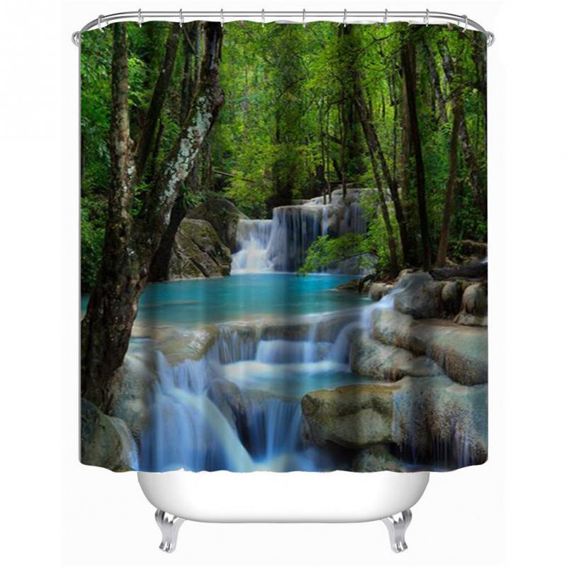 Family Waterfall Shower Curtain Bathroom Shower Curtain Ring Pull ...