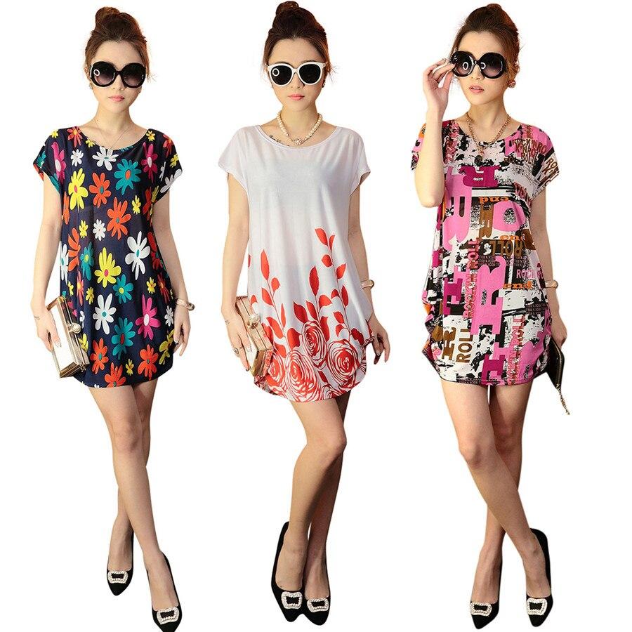 0e2b9fcc3a7 New 2017 summer women dress short sleeve o neck floral print loose ...
