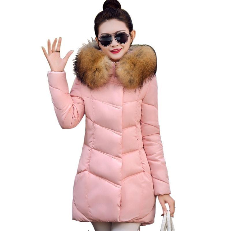 ФОТО Winter Coat Women 2016 Fashion Large Fur Collar Women Winter Jacket Thick Warm  Female Parka Down Cotton Jacket Plus Size W028