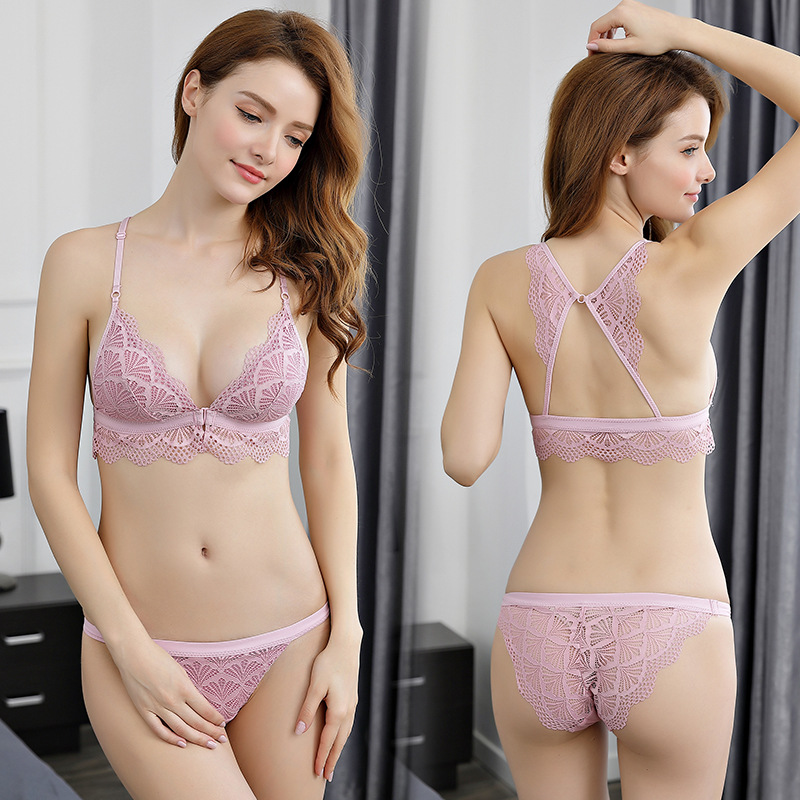 2018 New Women Front Closure Lace Bralette   Set   Sexy Lingerie Ultrathin Seamless   Bra     Set   Triangle Cup Y-line Straps Underwear