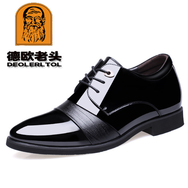 2019 Men's Patent Leather Shoes 5CM High Black Man Dress Increacing Shoes 37-43 Man Quality Leather Shoes
