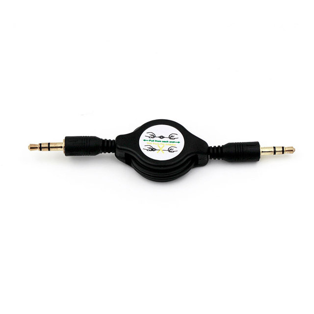 Jack 3.5mm Male To Male Stereo Audio Cable Retractable Aux Auxiliary Cord