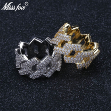 HOT!!! Hiphop Diamond Men Gold Ring Fashion Cubic Zirconia Fully Brand 18K Micro Pave Luxury Jewelry Gifts For