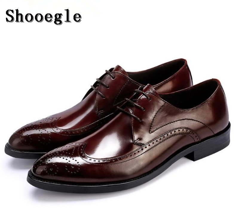 SHOOEGLE 2018 Newest Business Mens Dress Shoes Luxury Leather Black Wine Italian Fashion Party Male Shoes Man Size 38-46 SHOOEGLE 2018 Newest Business Mens Dress Shoes Luxury Leather Black Wine Italian Fashion Party Male Shoes Man Size 38-46