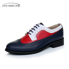 2017 women Genuine leather oxford shoes handmade blue Red white sping vintage British style oxfords for with fur