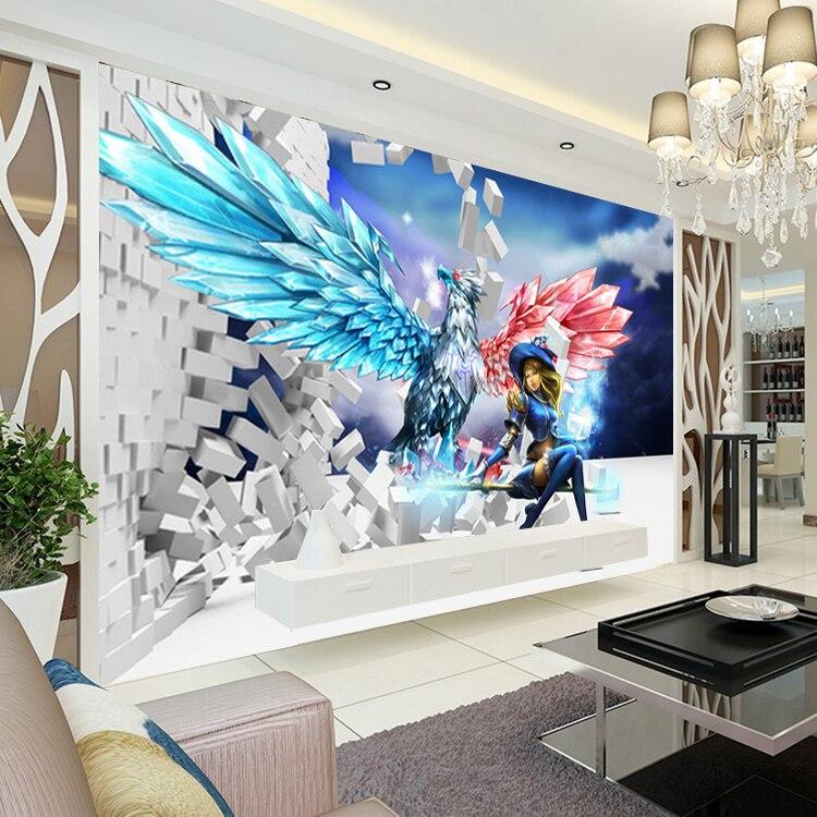 Newest LOL Hero Alliance Wood Fliber Wallpaper Bar KTV