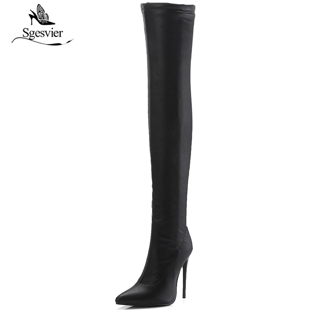 Sgesvier Stretch Suede Women Thigh High Boots Stilettos Sexy Over the Knee Boots Pointy Toe High Heel Long Boots Black Gray B774 black stretch fabric suede over the knee open toe knit boots cut out heel thigh high boots in beige knit elastic sock long boots