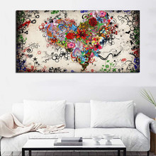 Hearts Flowers Painting Wall Art Canvas Painting For Living Room Modern Decorative Pictures Abstract Art Cuadros Decoration(China)