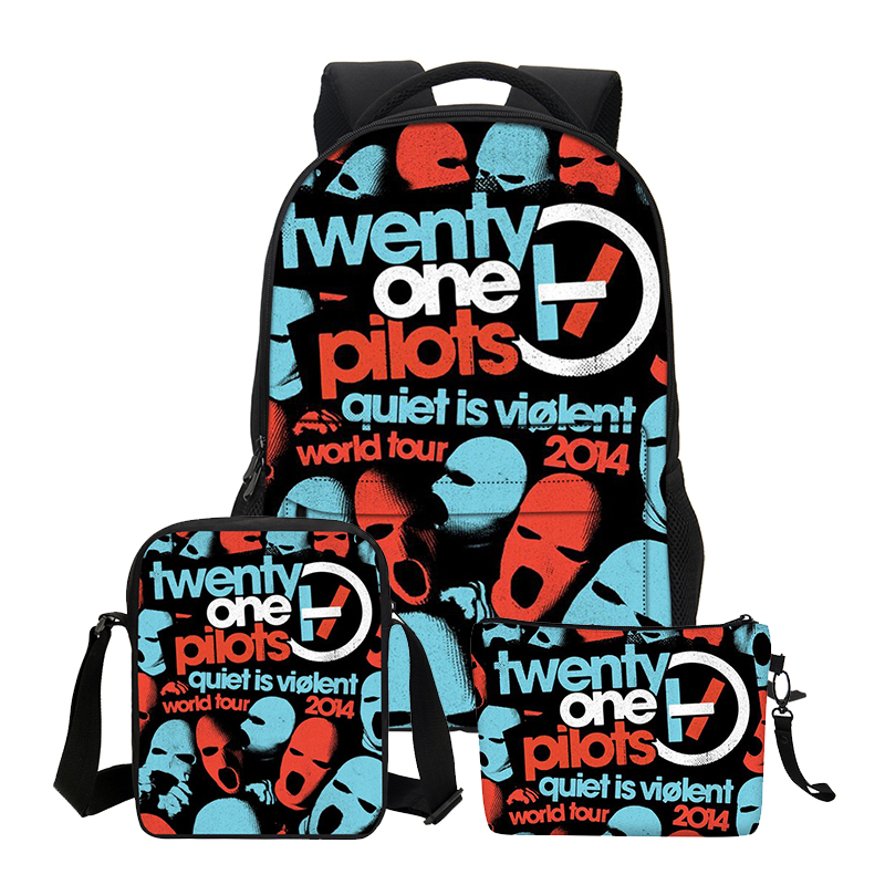 VEEVANV Boys School Backpacks Fashion 3 PCS/SET Twenty One Pilots Printing Shoulder Bags for Teenage Girls Cool Cortoon Bookbags hynes eagle 3 pcs set 3d letter bookbag boys backpacks school bags children shoulder bag mochila girls exo printing backpack