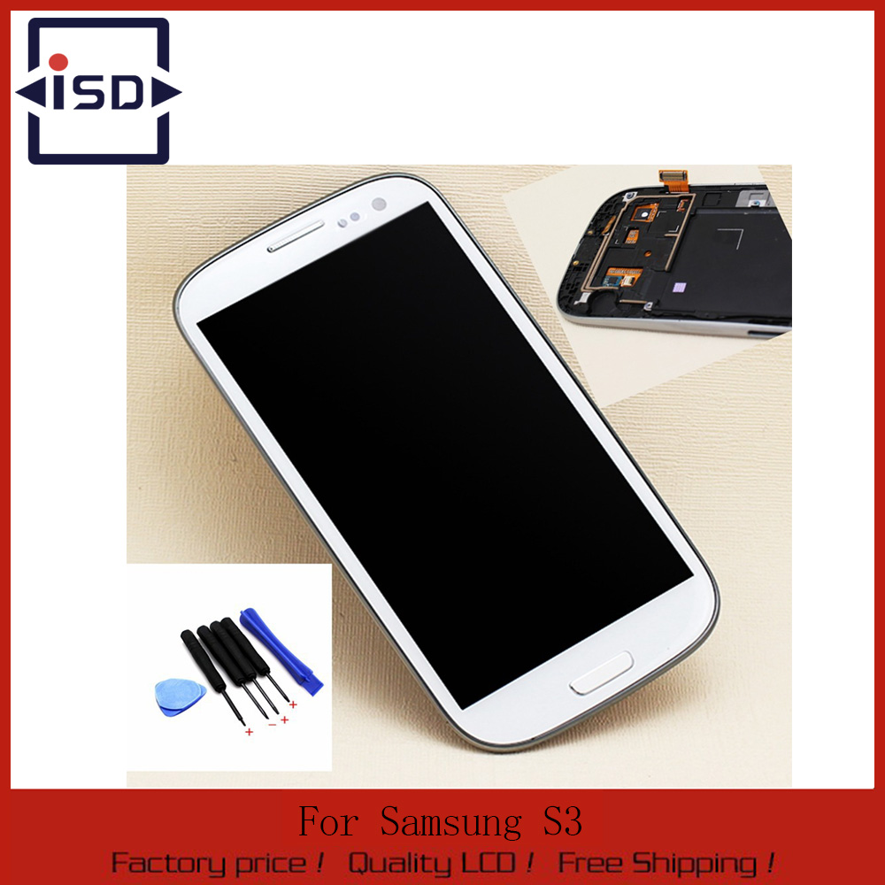 100% New For Samsung Galaxy S3 i9305 LCD with Touch Screen Digitizer + Frame Assembly + Tools Replacement White Free shipping matrix 57322