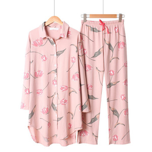 Image 1 - 2019 Spring And Summer Sleepwear Ladies Pajama Set Loose Large Size Floral Printed Long Sleeve+Pants Women 2pcs Comfort Homewear