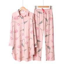2019 الربيع و الصيف ملابس خاصة السيدات بيجامة مجموعة فضفاضة كبيرة الحجم الأزهار ملابس منقوشة بكم طويل السراويل النساء 2 قطعة Homewear الراحة