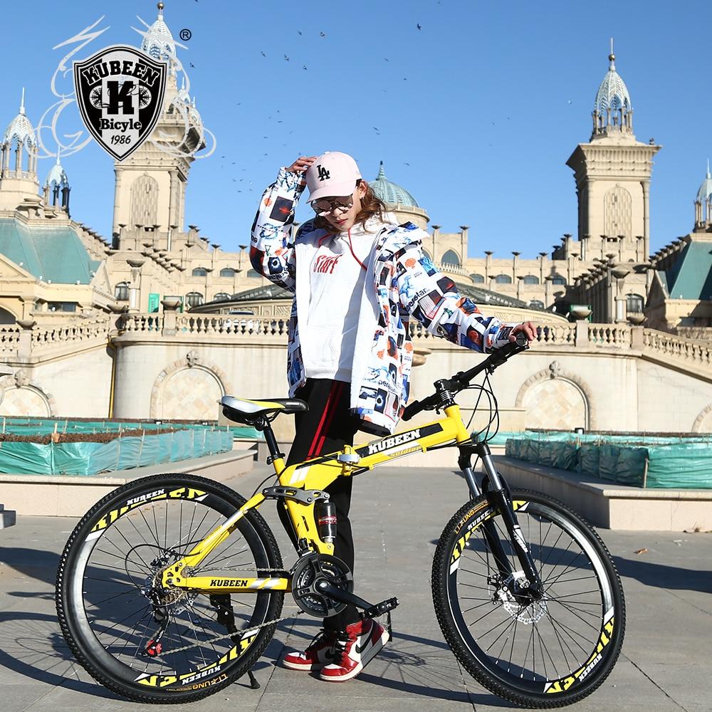 KUBEEN 26 polegada dobrável mountain bike 21 velocidade duplo amortecimento bicicleta freios a disco duplo de mountain bike