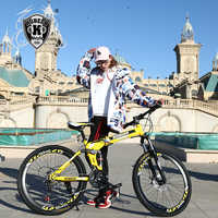 Kubeen 26 polegada dobrável mountain bike 21 velocidade de amortecimento duplo freios a disco bicicleta montanha