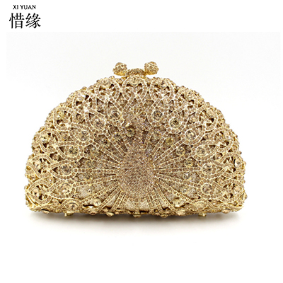 XIYUAN Luxury Clutch Bag Women Diamond Peacock Feather Evening Hand Bags Noble Crystal Dinner Party Purse Chain Famous bolso  luxury gold silver evening purse women pink pu leather pearl hand bag chain shoulder clutch bags handbag bolso handtassen xa841h