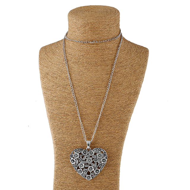 1pcs Antique Sliver Statement Large Abstract Metal Heart Pendant Long Curb Chain Lagenlook Necklace for Women 3
