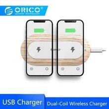ORICO двойной катушкой Беспроводной Зарядное устройство для iPhone X 8 XS 5 Вт Беспроводной зарядки для Samsung Galaxy S8 S9 S7 край Ци Беспроводное зарядное устройство с USB