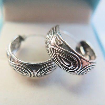 New Fine Real S925 Sterling Silver Women Carved Hoop Earrings 20x6mm