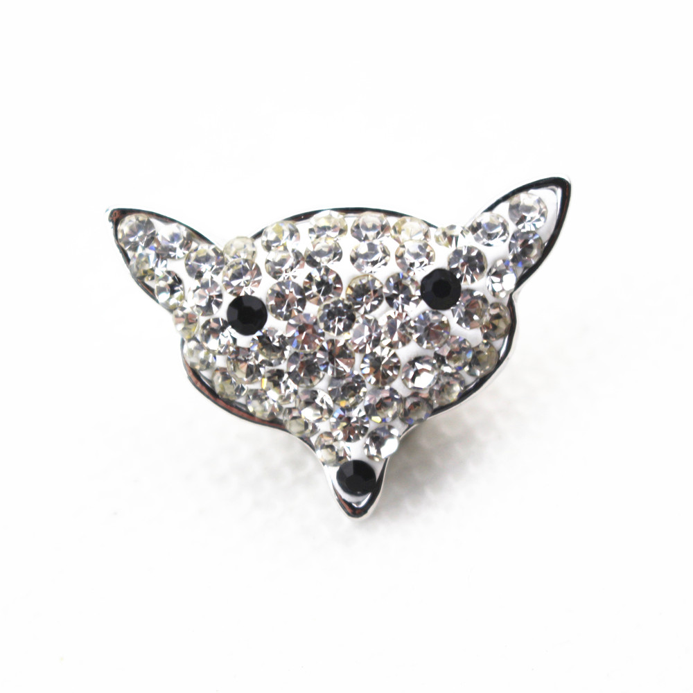 Hot selling 20mm fox Filled with crystal snaps button for DIY snaps bracelets for women men fit ginger snaps jewelry