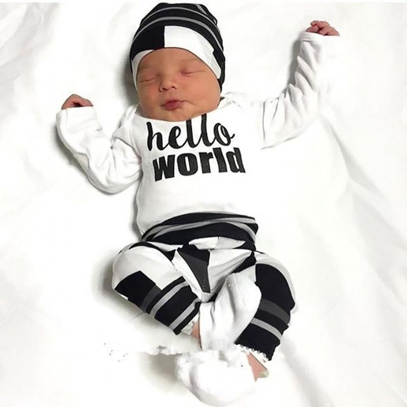 Baby Boy Clothes 3 Piece Set Baby Outfit Infant Clothes Newborn Boy Letter Print Suit Hat Rompers 3PCS 9 Months Baby Boy Clothes