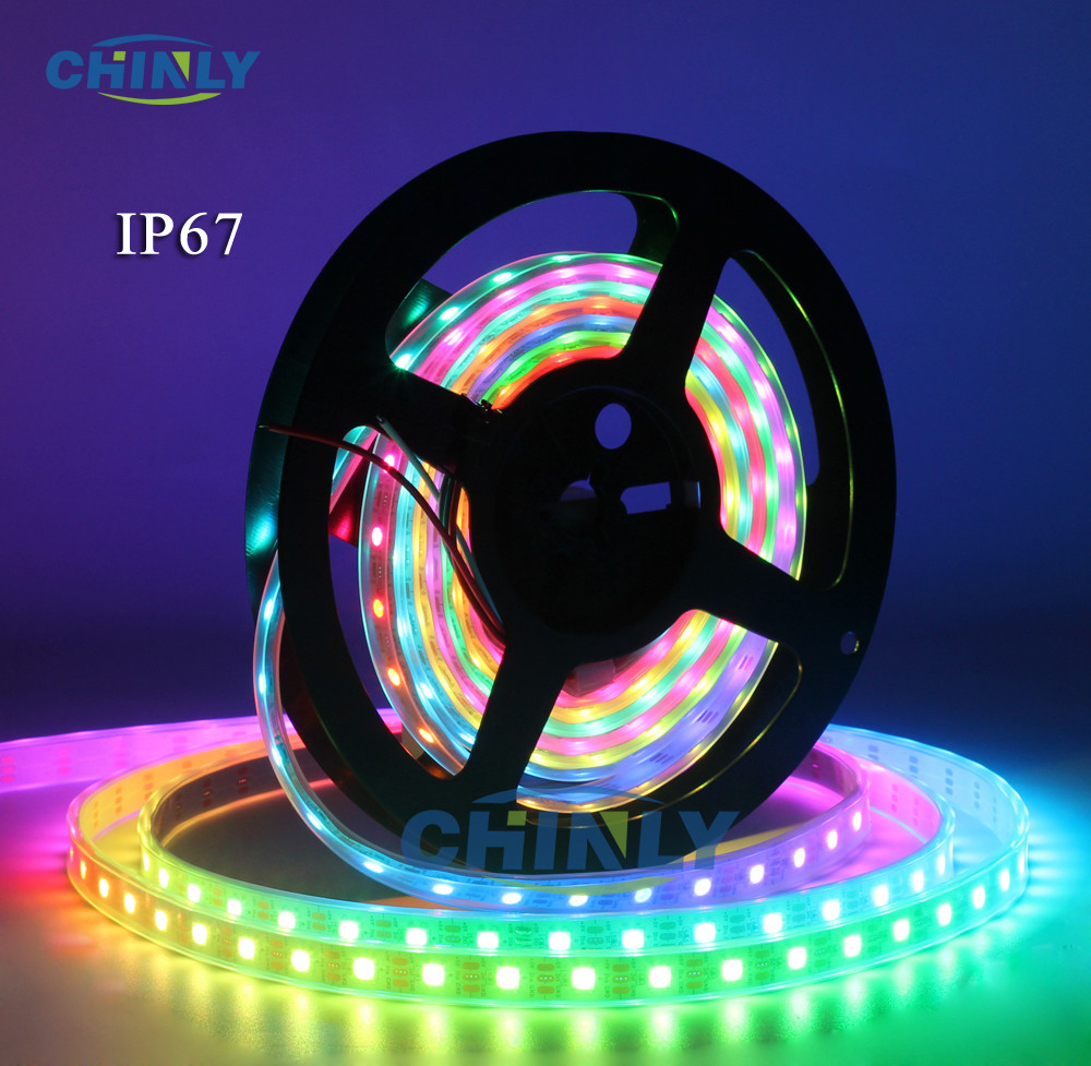 WS2812B LED Strip Individuelt Adressable RGB Smart Pixels Strip1m / 4m / 5m Svart / Hvit PCB WS2812 IC Vanntett 5V 30/60/144 LED