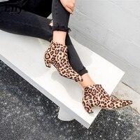 Eilyken Sexy Pointed Toe Leopard Women Boots Strange Kitten Heel Ankle Boots For Women Leather Women Boots Shoes size 35 40