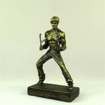 Bruce Lee Miniature Chinese Kung Fu Figure Kicking Sculpture Nunchaku Ornament Movie Star Souvenir Present Craft Art Collection 4