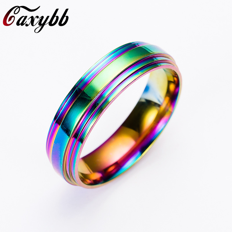High Quality Rainbow Stainless Steel Ring for Women/Men Fashion Jewelry Accessories