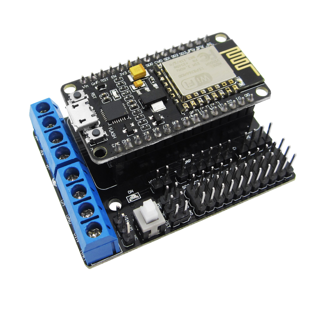 NodeMCU Development Kit NodeMCU + Motor Shield esp wifi esp8266 esp-12e esp 12e kit diy rc toy remote control Lua IoT smart car iot esp8266 wireless wifi serial module esp 07s