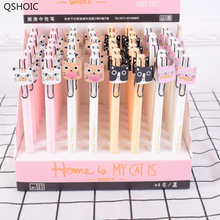 48 Pcs Gel Pens Big Face Cat Black Colored Kawaii Gift Gel-ink For Writing Cute Stationery Office School Supplies