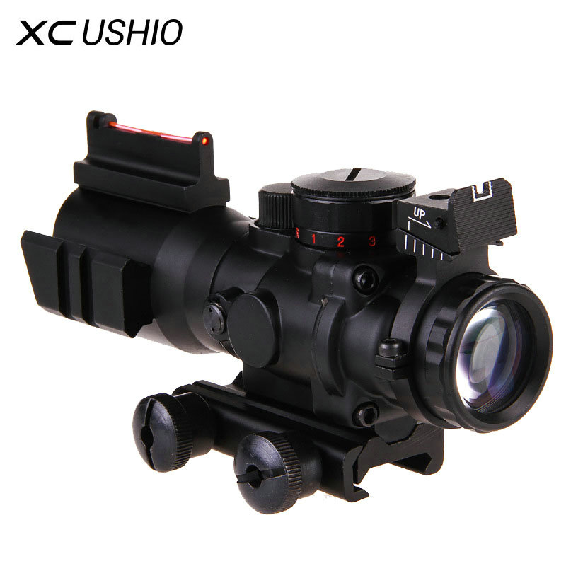 Gun Riflescope 4x Prism Mechanical Optical Fiber Integrated Sniper Rifle Scope Laser Telescopic Sight font b