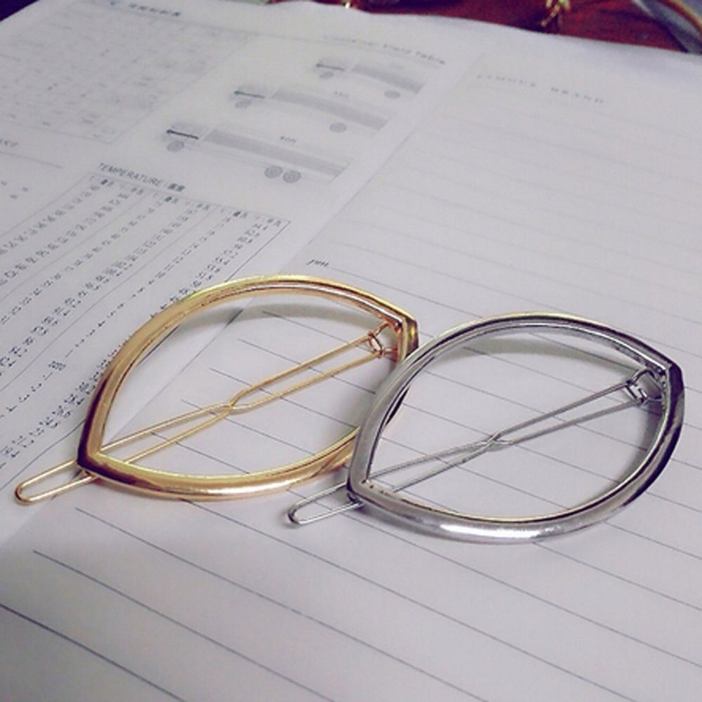 Fashion New Style Geometry Of Minimalist Alloy Oval Hair Clip Color Gold/ Silver colors