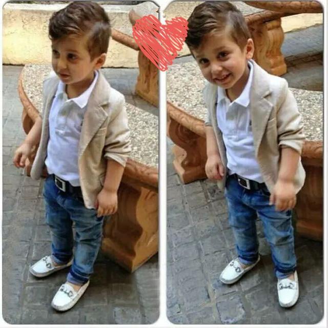 7bd3037cec7 Fashion new autumn boys beautiful jeans wear clothes kids suits children  boys jacket+white shirt +denim pants 3pcs Clothing Set