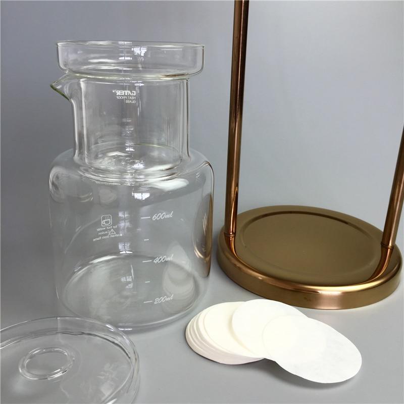 New Gold Silver 600ml Water Drip Coffee Maker Reusable Glass Filter Tools Espresso Coffee Dripper Pot Ice Brew Coffee Machine