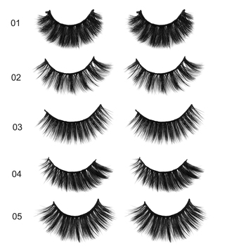 5 Pairs Mixed  Multipack 3D Soft Mink Hair False Eyelashes Wispy Long Lashes Natural Eye Makeup Faux Eye Lashes Extension Tool