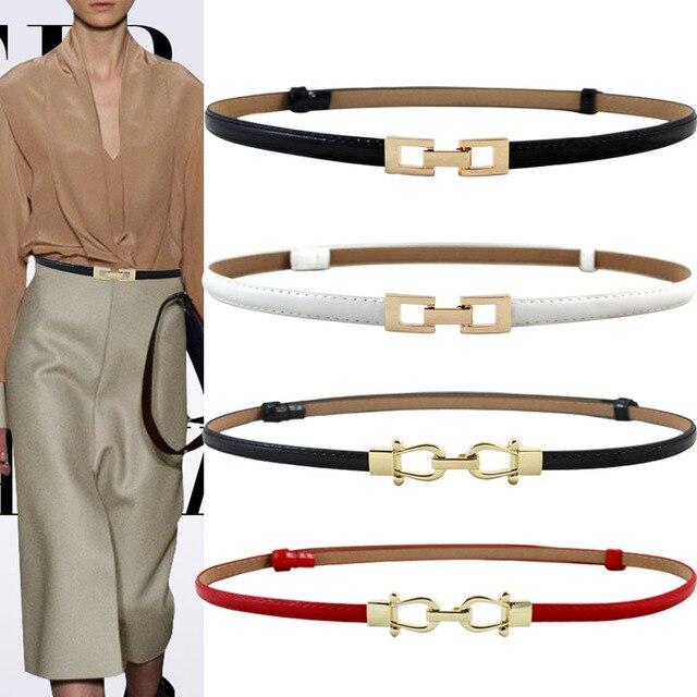 92542cb524f45 Women black Leather Belt Gold cutout square Alloy Buckle Thin Girdle  Waistband Adjustable lady Dress Waist Strap belts For Women