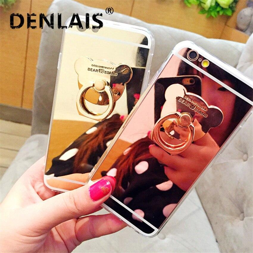 Зеркало ультра тонкий мягкий гель Чехол для iPhone 5S 6S 6 Plus 8 x 6S 7 7 Plus милый медведь мультфильм кольцо держатель, чехол для телефона Coque принципиа…